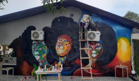 Street art Mur restaurant Boffa en création